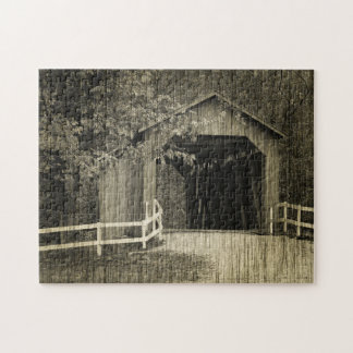 Sepia Tone Sandy Creek Covered Bridge Jigsaw Puzzle