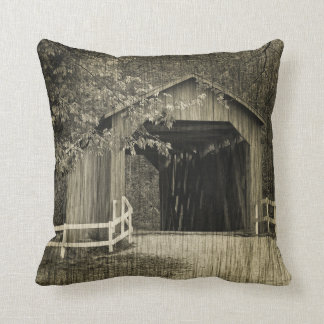 Sepia Tone Sandy Creek Covered Bridge Throw Pillow