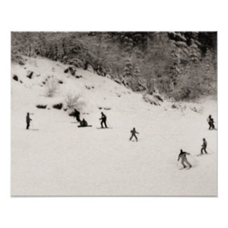 Sepia tone ski print, Fun on the piste Poster