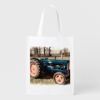 Sepia Toned Antique Vintage Tractor Reusable Grocery Bag