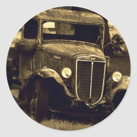 Sepia Toned Antique Vintage Truck Classic Round Sticker