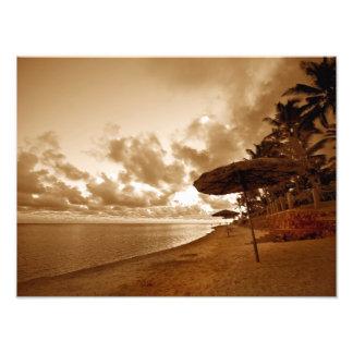 Sepia Toned Beach Scene Photograph
