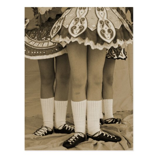 Sepia Toned Irish Dance Postcard