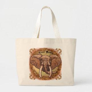 Sepia Tribal Elephant custom name tote bag