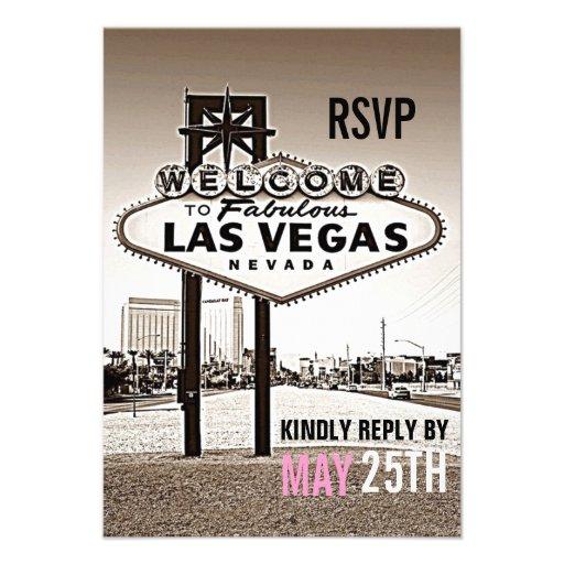 Sépia vintage Las Vegas RSVP l'épousant moderne Bristol Personnalisé
