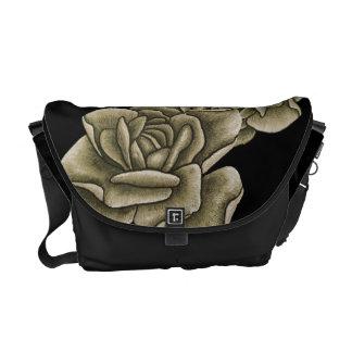 Sepia Vintage Rose on Black Messenger Bags