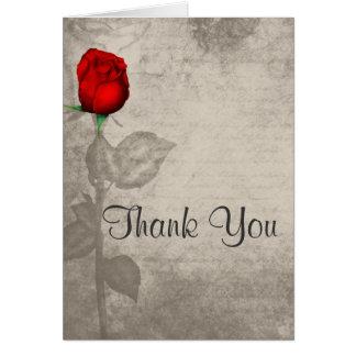 Sepia Vintage Spot Color Red Rosebud Thank You Card