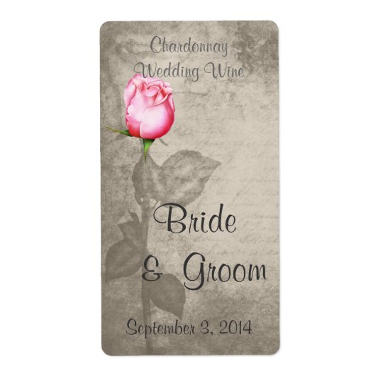 Sepia Vintage Spot Colour Pink Rose  Wedding Wine Shipping Label