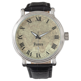 Sepia Vintage World Map with Roman Numerals Watch