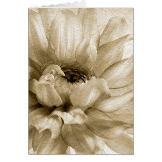 Sepia White & Cream Dahlia Background Customized Card
