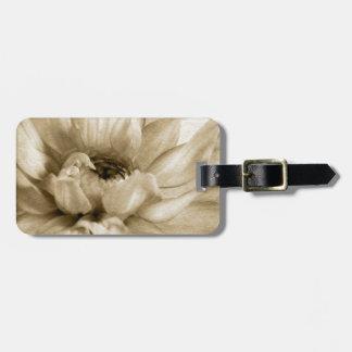 Sepia White & Cream Dahlia Background Customized Luggage Tag