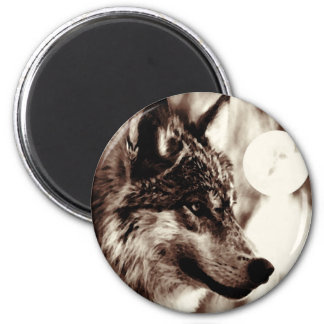 Sepia Wolf & Moon 2 Inch Round Magnet