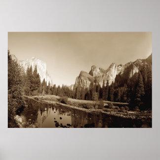 Sepia Yosemite Valley Poster