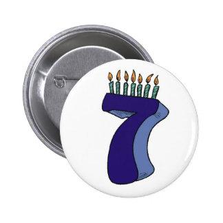 Sept 7èmes cadeaux d'anniversaire macaron rond 5 cm