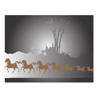 Sept chevaux carte postale