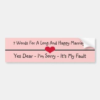 Sept mots pour un long et heureux mariage autocollant de voiture