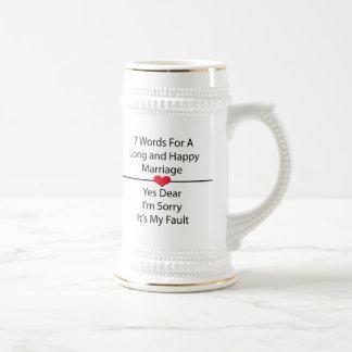 Sept mots pour un long et heureux mariage chope à bière