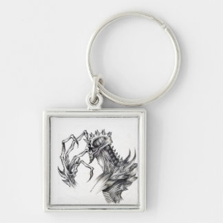 Septar - Evil Monster - Black & White Pen Sketch Silver-Colored Square Keychain