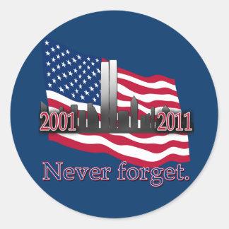 September 11 10 Year Anniversary Tshirt Round Sticker