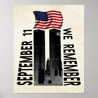 September 11th We Remember Memorial Tribute Poster