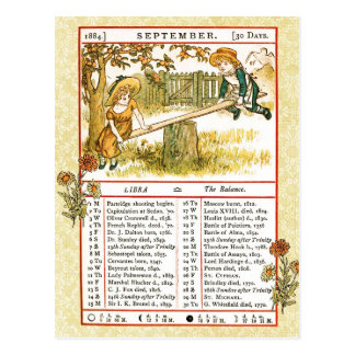 September 1884 Almanac.  Libra, The Balance Postcard
