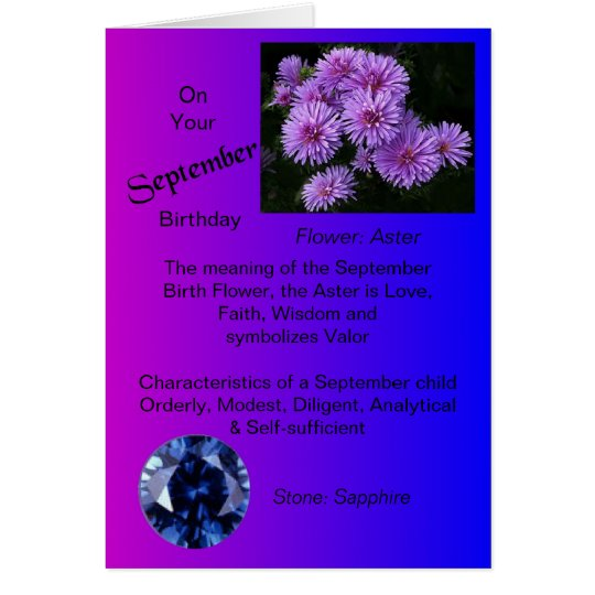 September Birthday Card - Aster and Sapphire