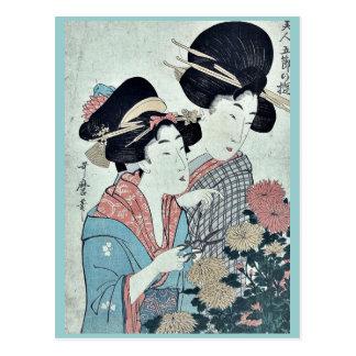September by Kitagawa, Utamaro Ukiyoe Postcard