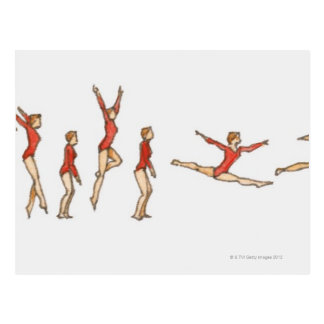 Sequence of illustrations showing female gymnast postcard