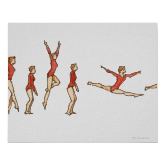 Sequence of illustrations showing female gymnast poster