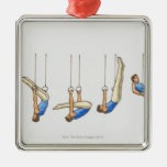 Sequence of illustrations showing male gymnast 2 metal ornament