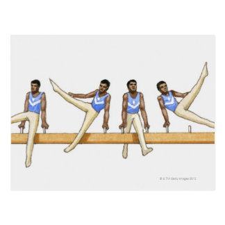 Sequence of illustrations showing male gymnast postcard