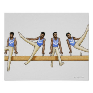 Sequence of illustrations showing male gymnast poster