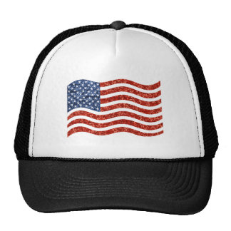 sequin american flag trucker hat