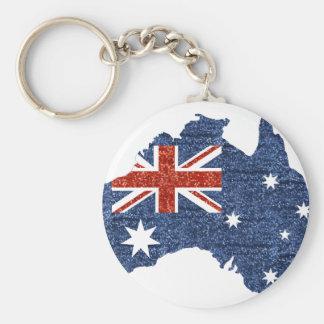 sequin australian flag basic round button keychain