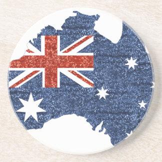 sequin australian flag beverage coasters