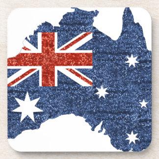 sequin australian flag drink coaster