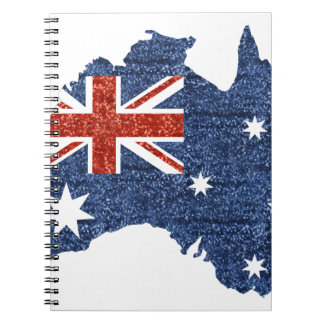 sequin australian flag spiral note books