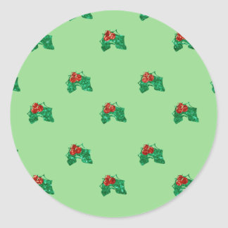 sequin christmas Holly Classic Round Sticker