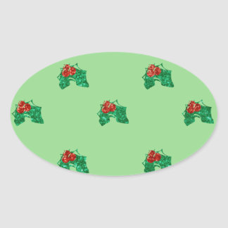sequin christmas Holly Oval Sticker