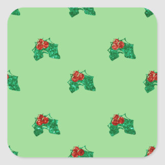 sequin christmas Holly Square Sticker