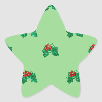 sequin christmas Holly Star Sticker
