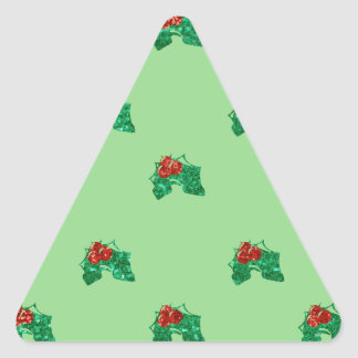 sequin christmas Holly Triangle Sticker