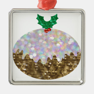 sequin christmas puddings metal ornament