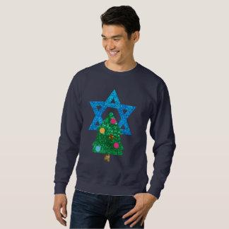 sequin christmukkah hanukkah mens sweatshirt