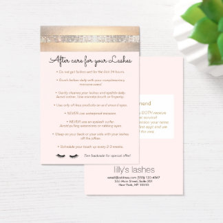 Sequin Eyelash Extensions Aftercare Instructions Business Card