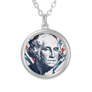 sequin george washington silver plated necklace