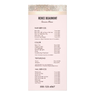 Sequin Gold Pink Salon Price List Service Menu