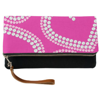 Sequin hearts clutch