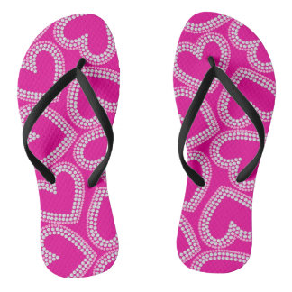 Sequin hearts flip flops