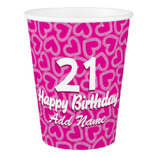 Sequin hearts paper cup